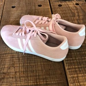 Adidas women's pink suede tennis shoes. Like new.